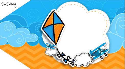 Tag Agradecimento Etiqueta Pipa Laranja e Azul Kit Festa