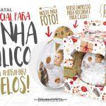 Bolinha Acrílica de Natal Molde para Foto e Caixinha Grátis