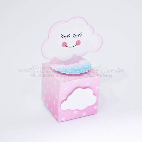 Caixa Cubo personalizada Moldes Especiais Chuva de Amor