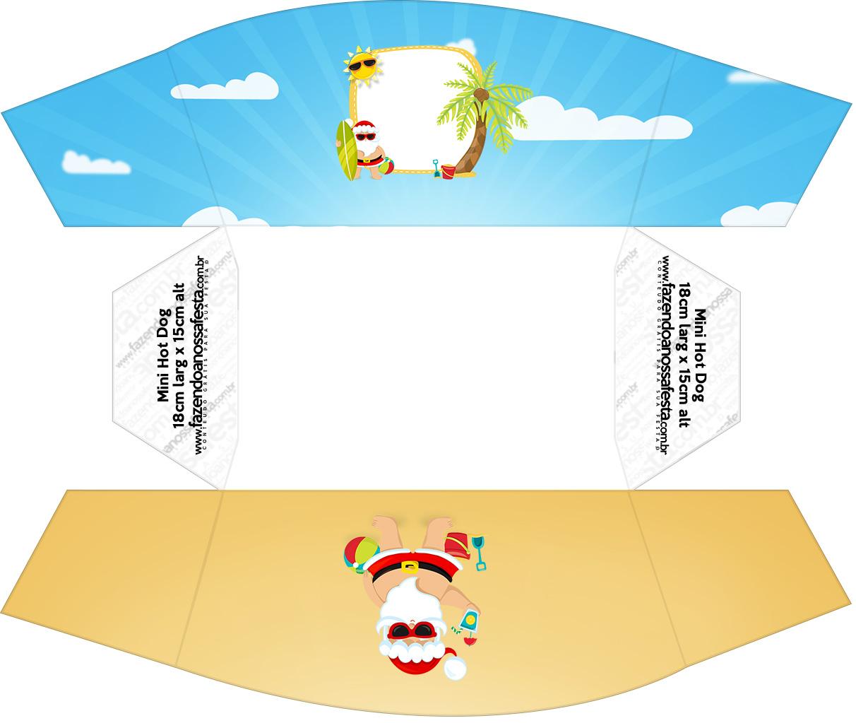 Caixa Mini Cachorro quente Natal Tropical Kit Festa