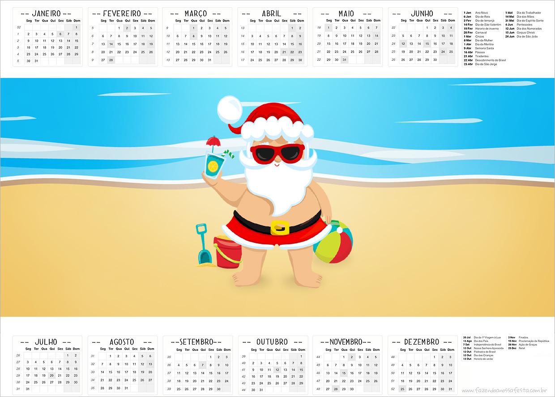 Calendario 2017 Natal Tropical Kit Festa
