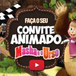 Convite Animado Virtual Masha e o Urso Grátis para Baixar