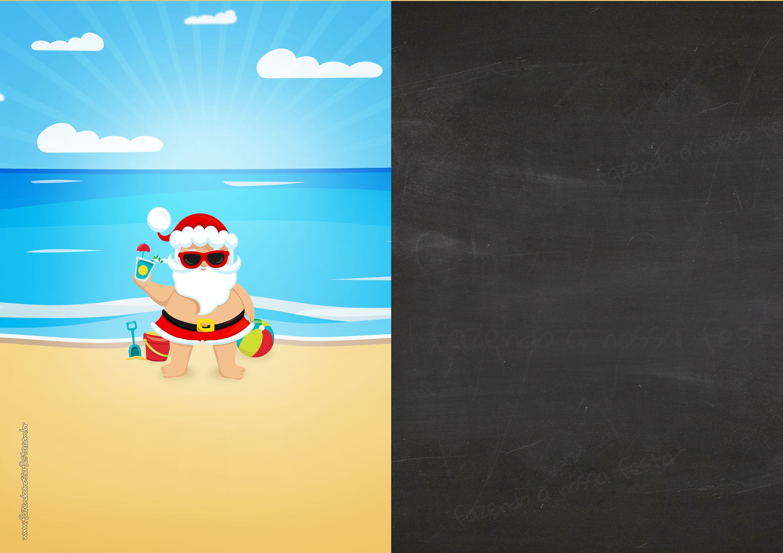 Convite Chalkboard Tema Natal Tropical