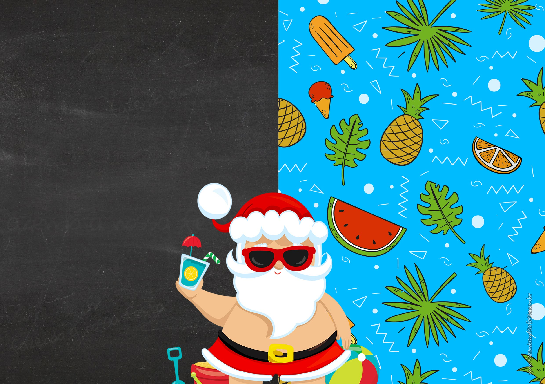 Convite Chalkboard com Foto Natal Tropical