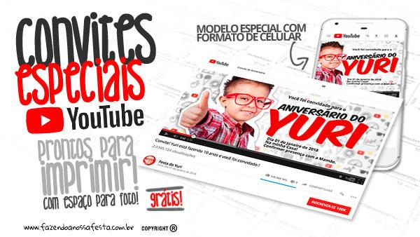Convite Especial Festa Youtube Grátis