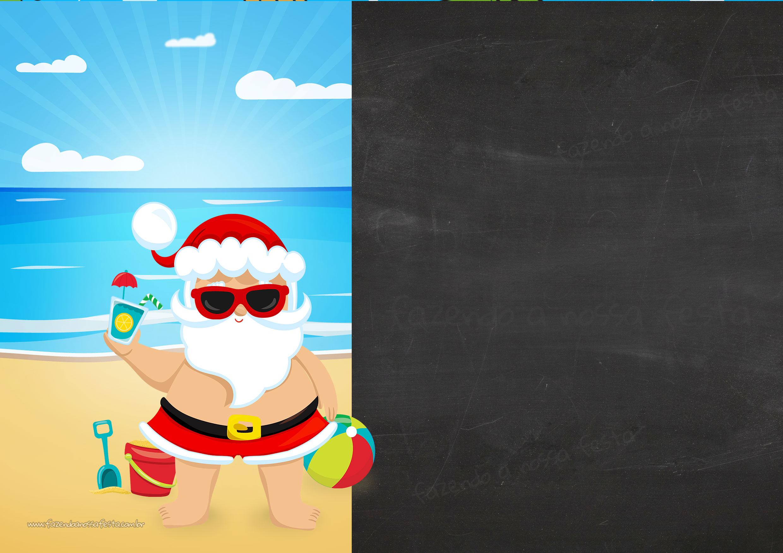 Convite Chalkboard Natal Tropical 7
