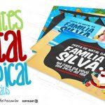 Convite Natal Tropical Grátis para Imprimir e Personalizar
