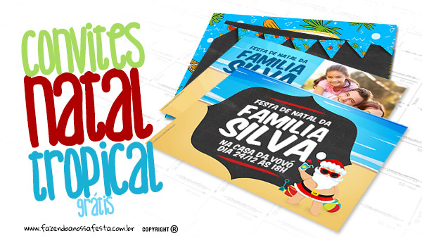 Convite Natal Tropical Gratis