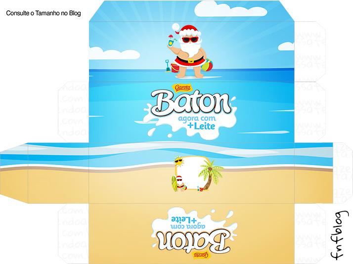 Molde Caixa Baton Natal Tropical