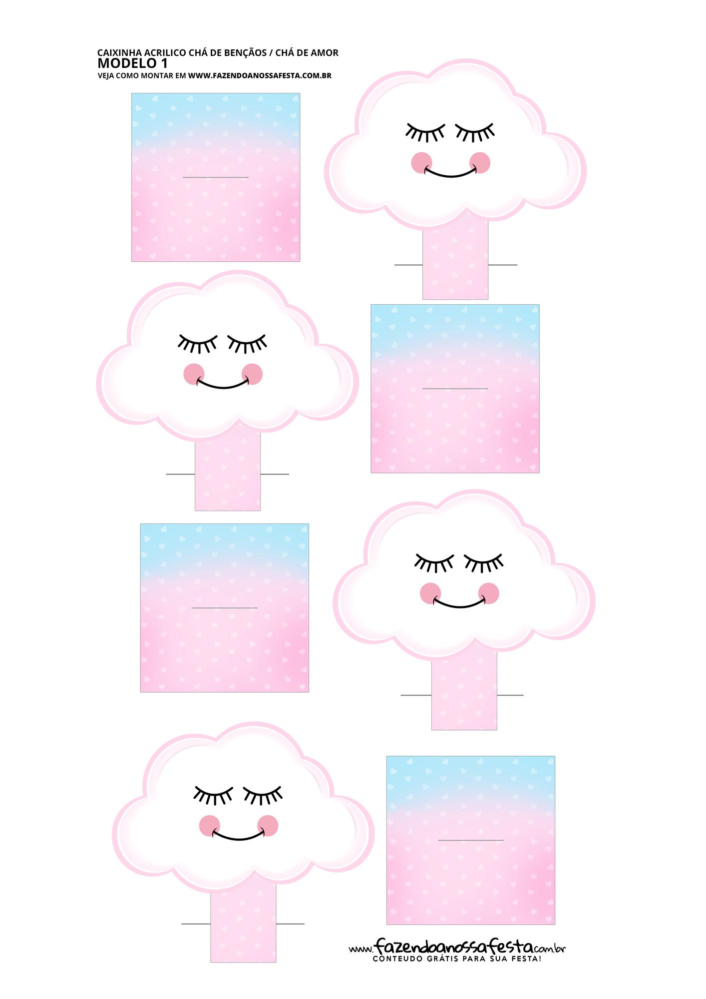 Molde criativo caixa acrilico Festa Chuva de Amor
