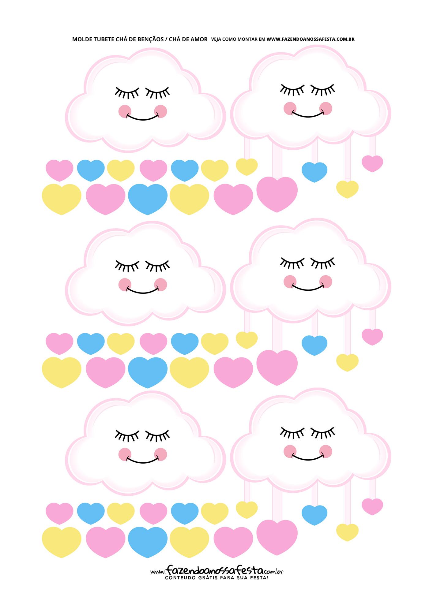 Nuvens com corações Festa Chuva de Amor