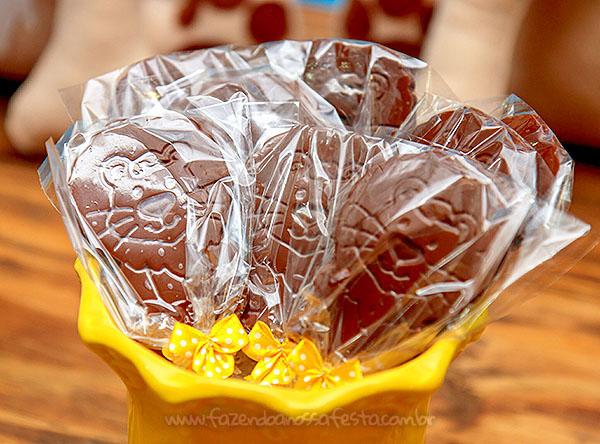 Pirulito de chocolate Festa Infantil Arca de Noe do Henrique