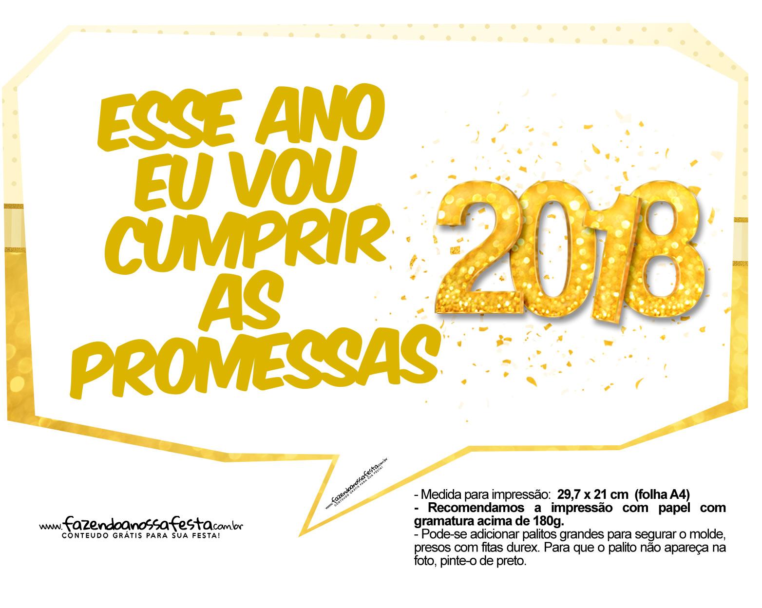 Plaquinhas divertidas Ano Novo 2018 2