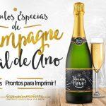 Rótulo Champagne Personalizado Ano Novo Grátis e Pronto para Imprimir