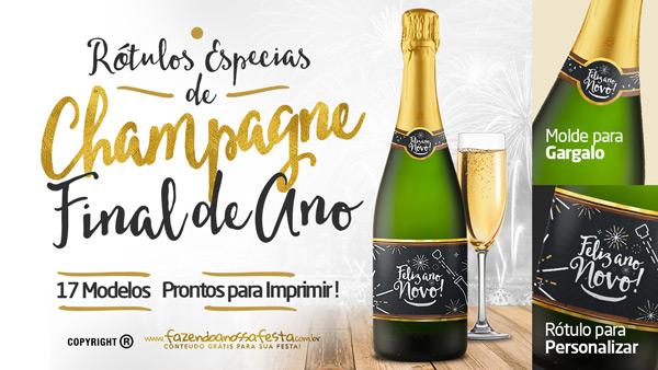 Rótulo Champagne Personalizado Ano Novo