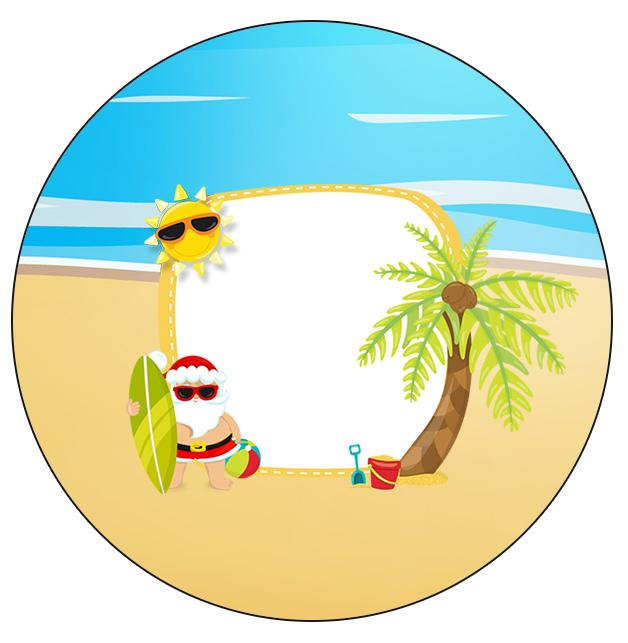 Rotulo Personalizado para latinha e toppers Natal Tropical