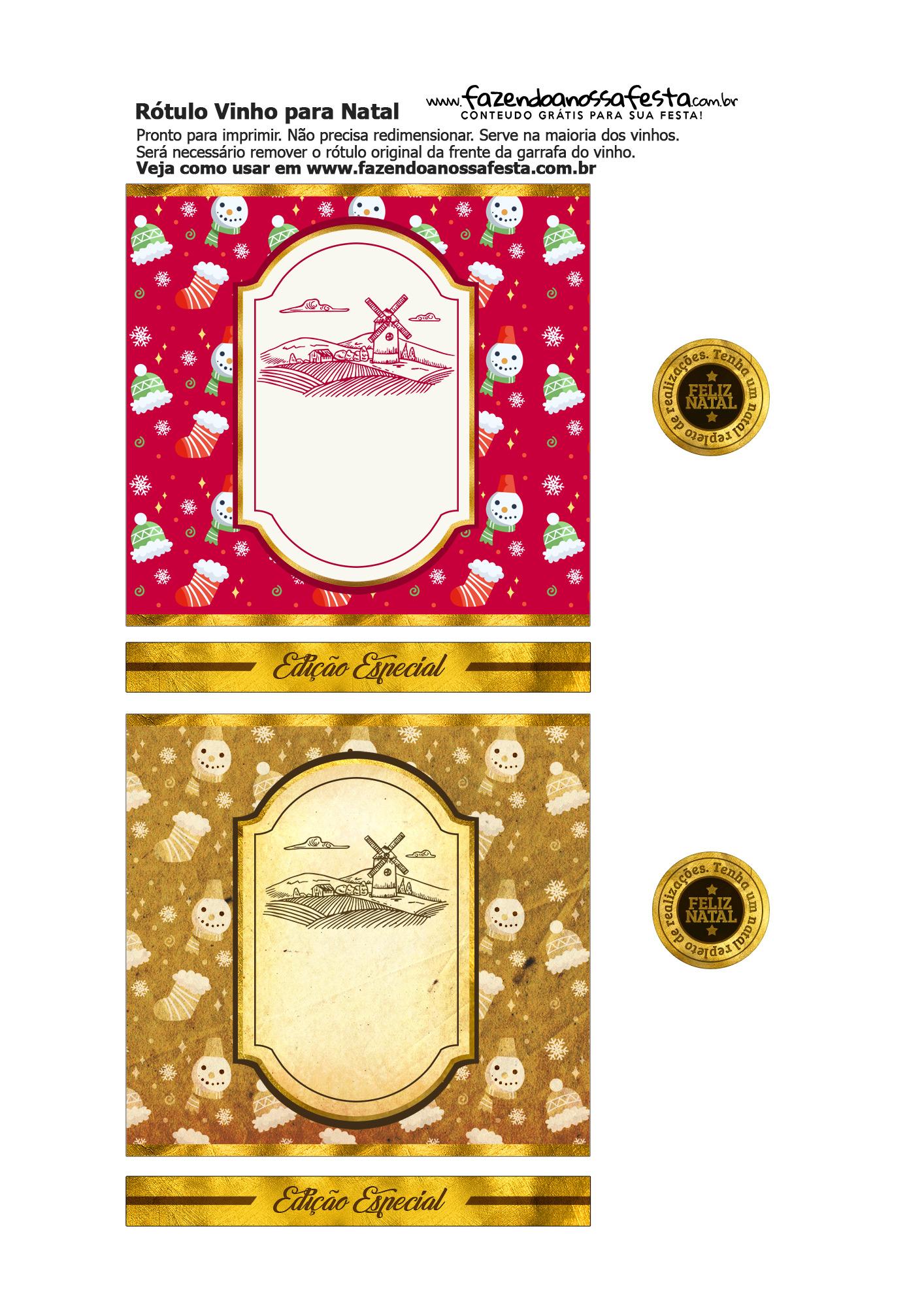Rotulo de Vinho Personalizado para Natal 10