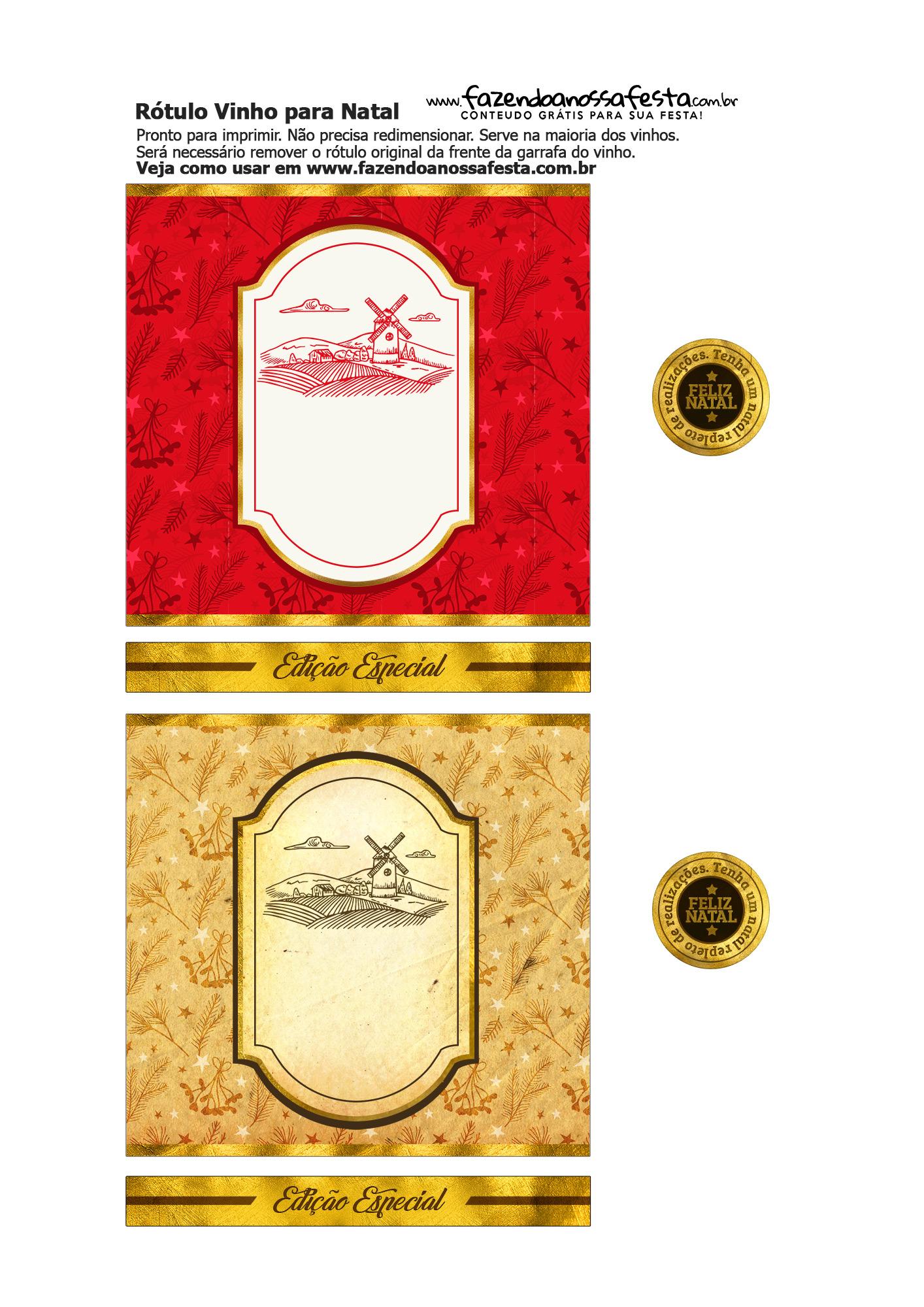 Rotulo de Vinho Personalizado para Natal 12