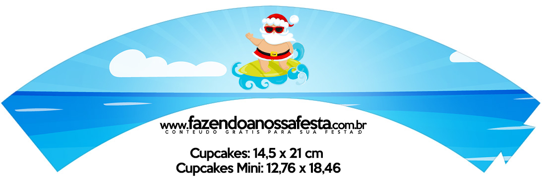 Saias Wrappers para Cupcakes Natal Tropical