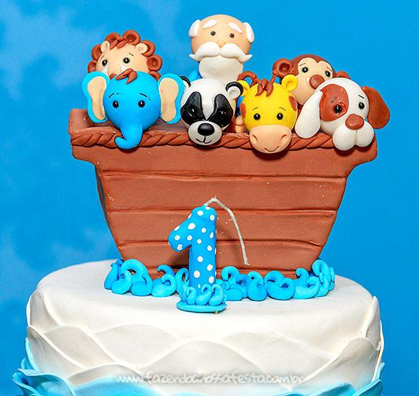 Topo de bolo Festa Infantil Arca de Noe do Henrique