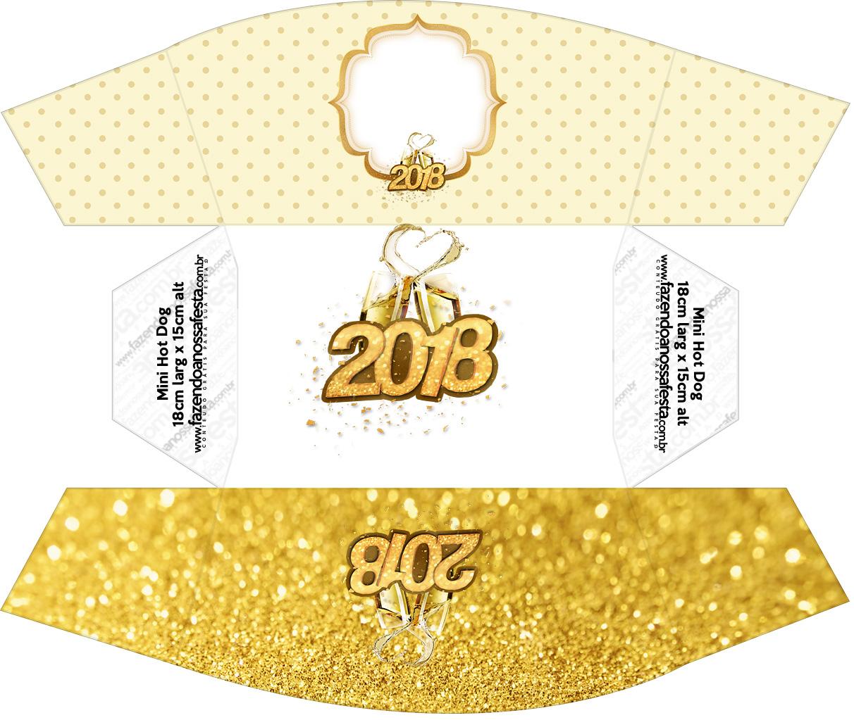 Caixa Mini Cachorro quente Ano Novo 2018