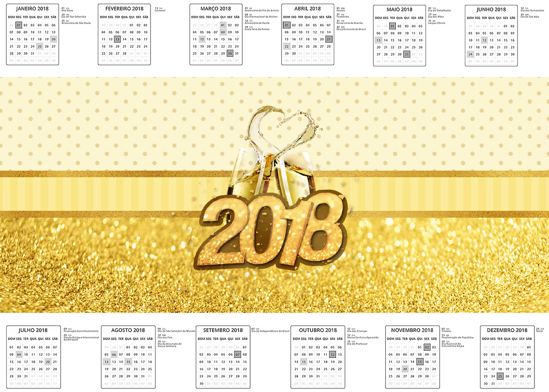 Calendario 2018 Ano Novo 2018