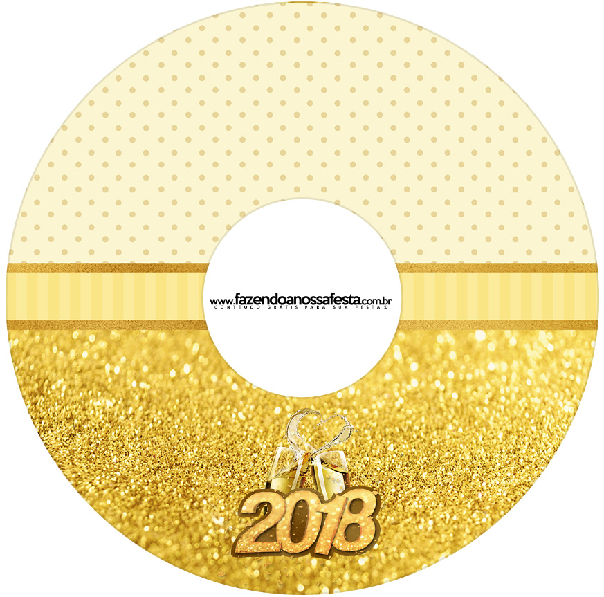Etiqueta CD DVD Ano Novo 2018 Kit Festa