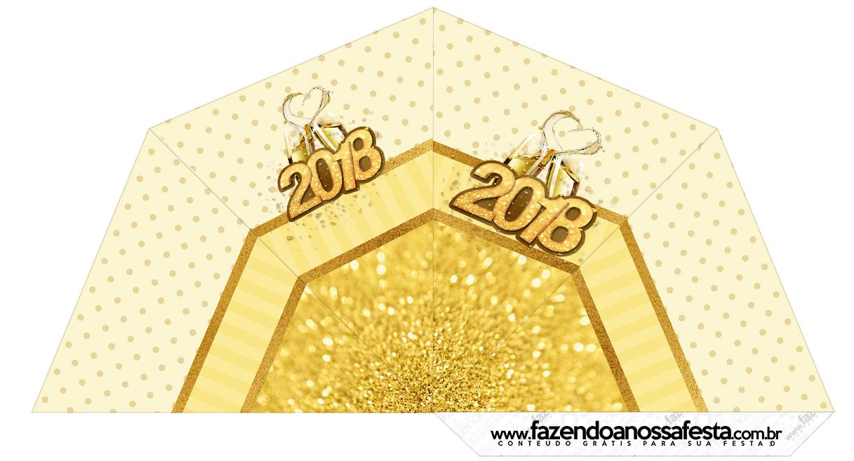 Cone Guloseimas 3 lados Ano Novo 2018 Kit Festa