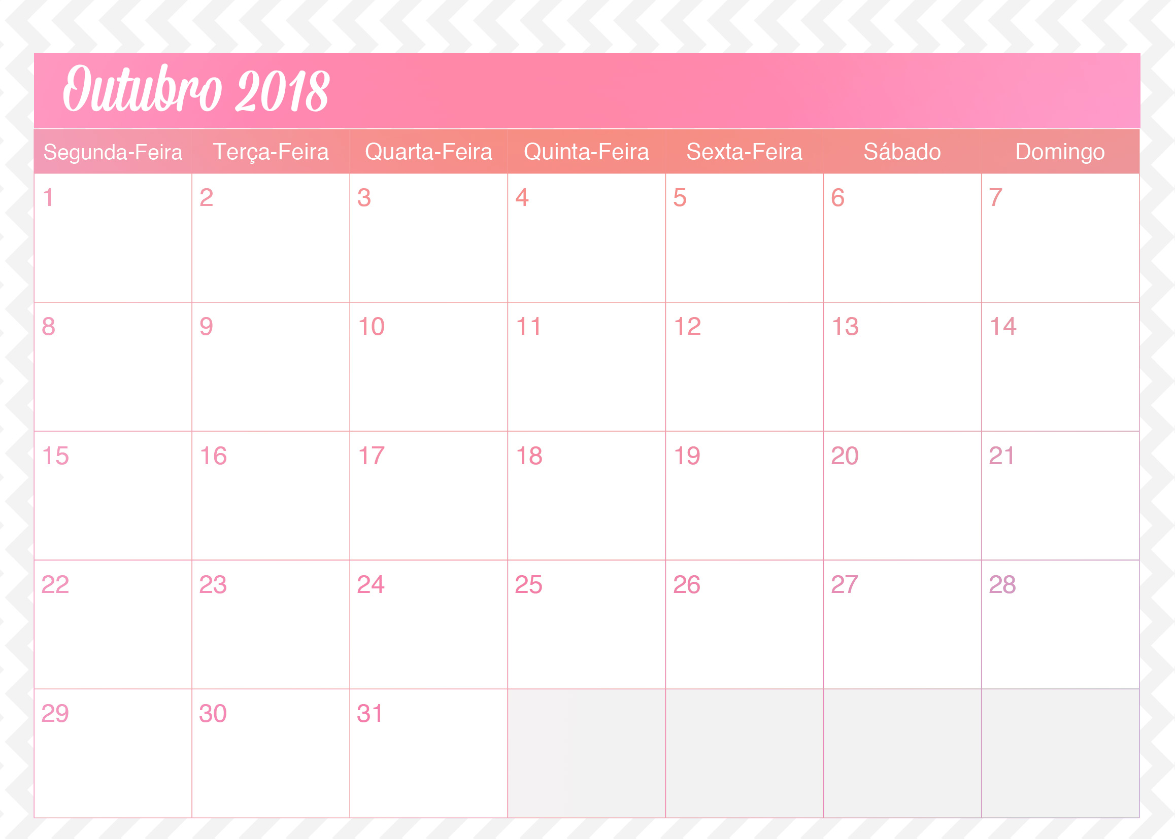 Calendario Mensal Planner de Professor Unicornio Outubro