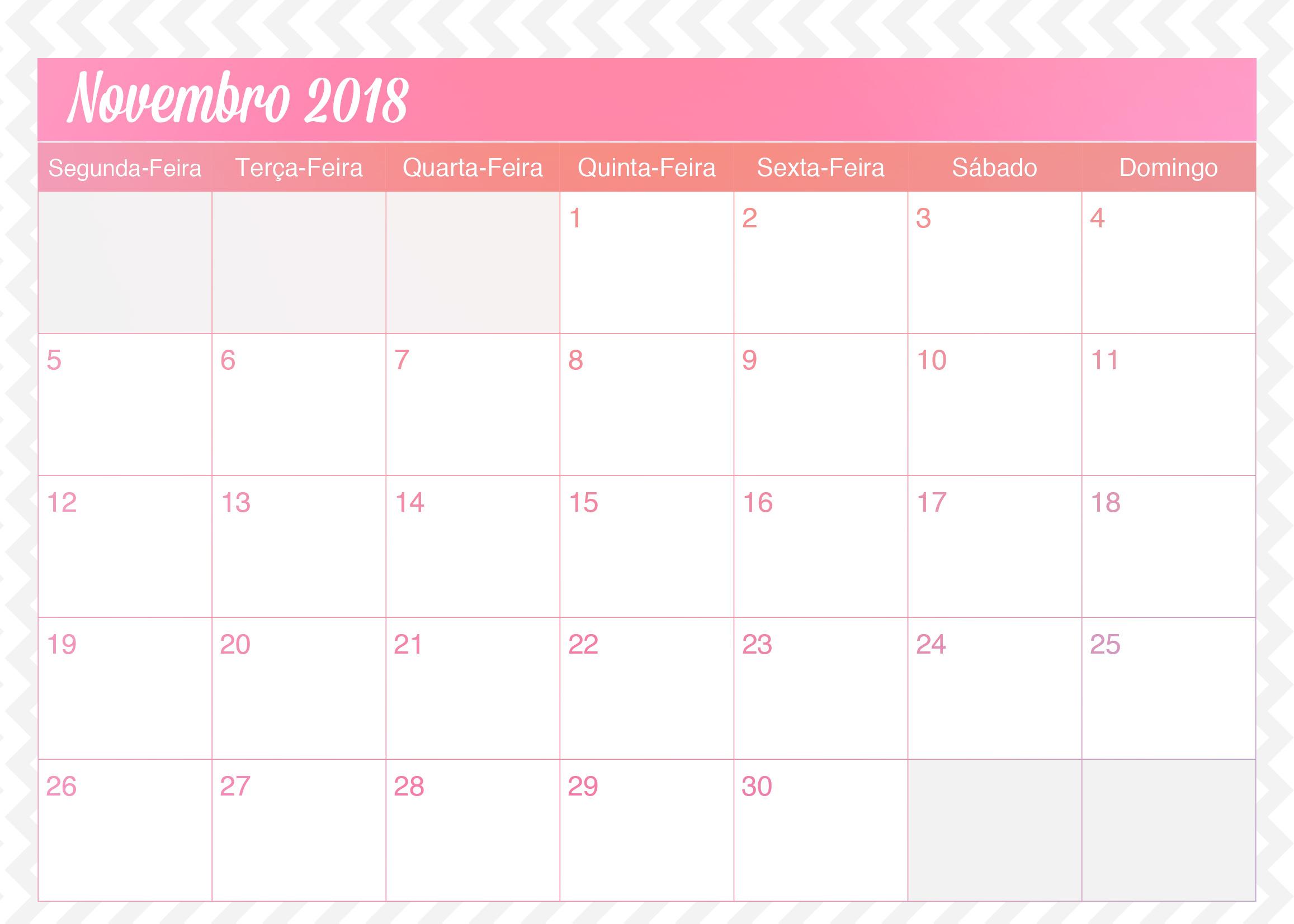Calendario Mensal Planner de Professor Unicornio Novembro