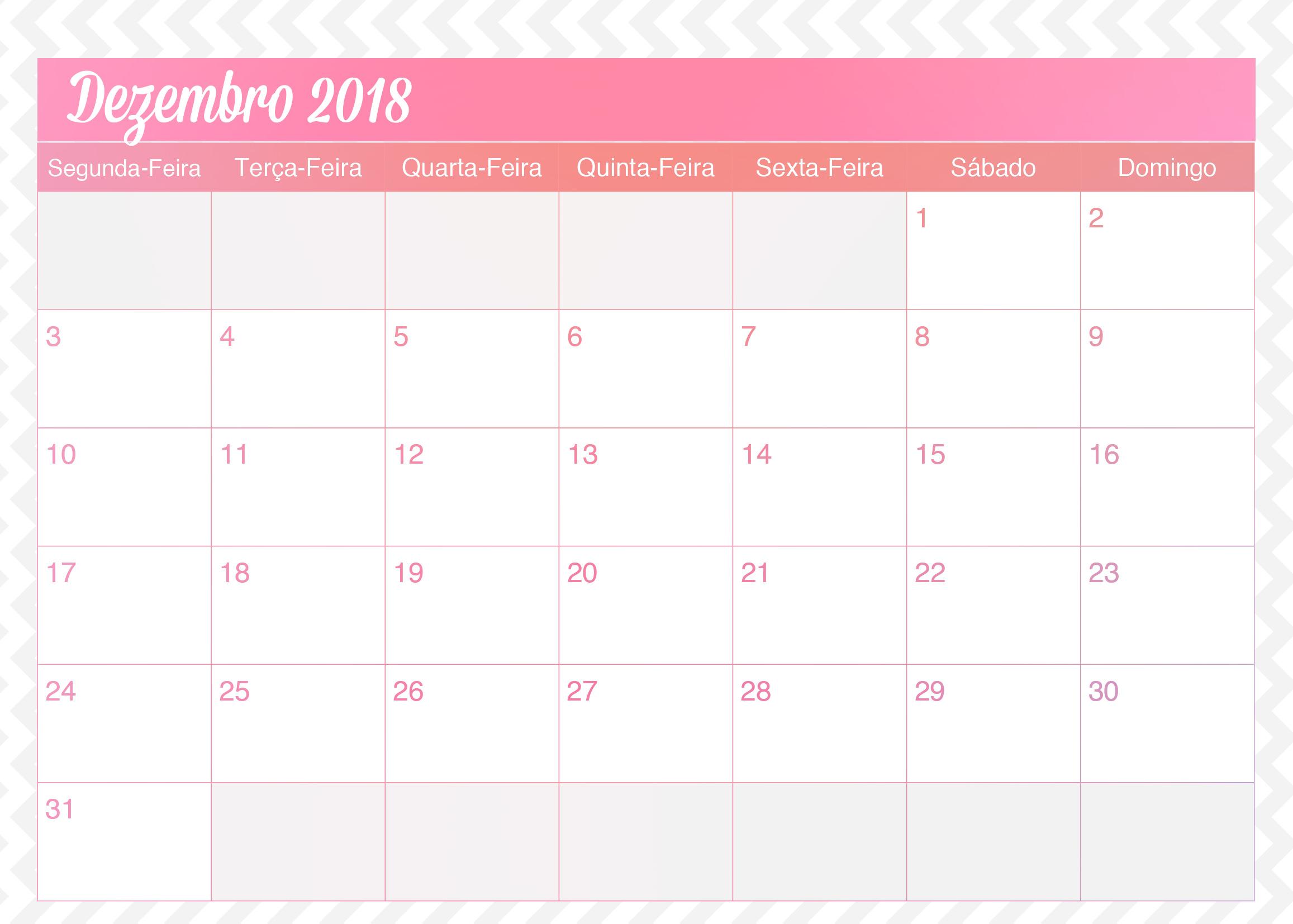 calendario dezembro 2018
