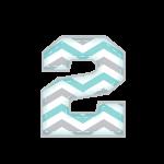 2 Alfabeto Elefantinho Chevron Azul e Cinza