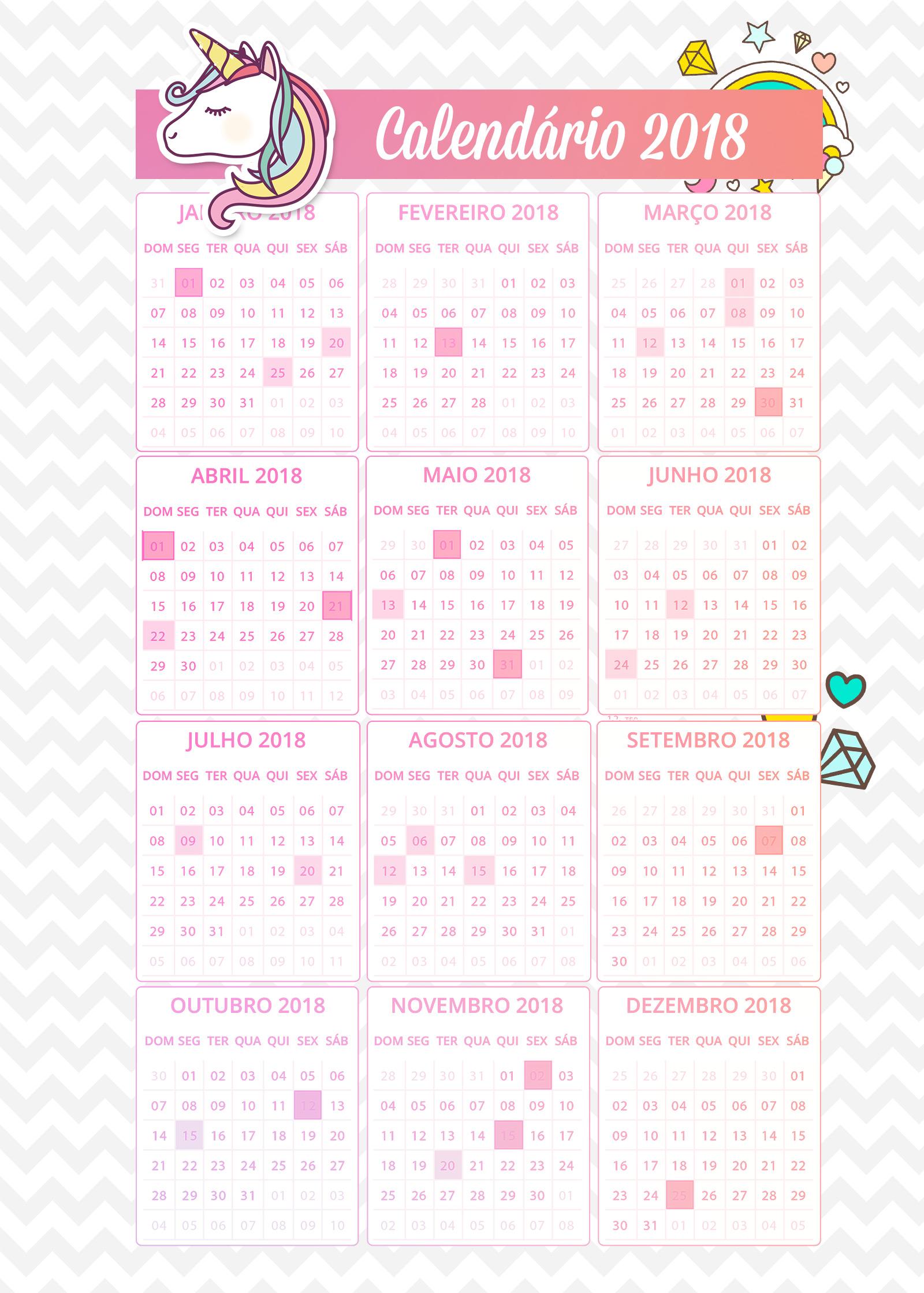 Planner de professor Unicornio Calendario 2018