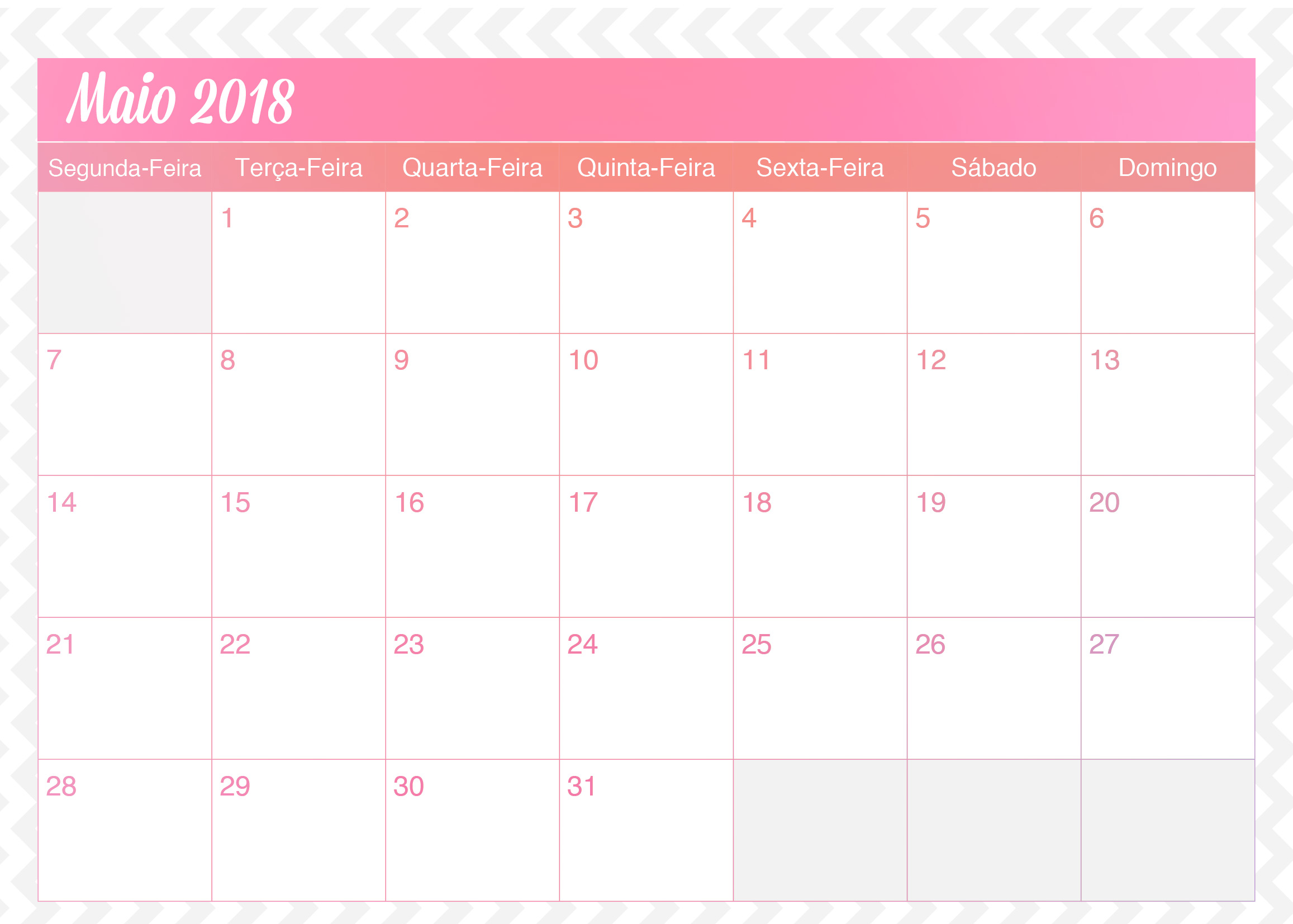 Calendario Mensal Planner de Professor Unicornio Maio