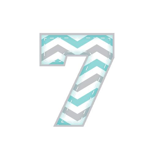 7 Alfabeto Festa Elefantinho Chevron Azul e Cinza