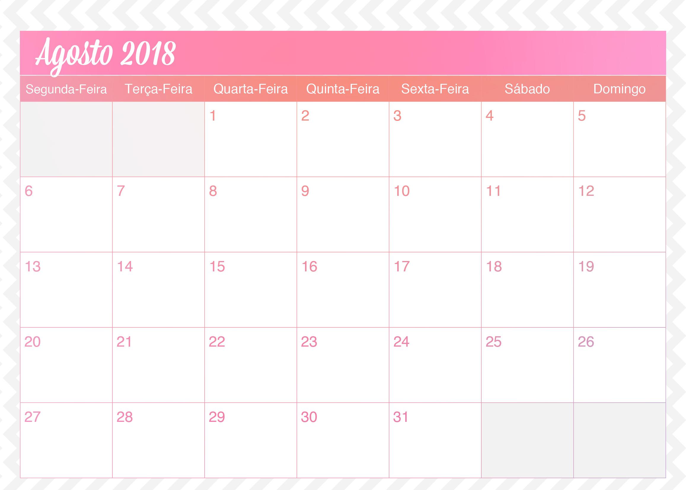 Calendario Mensal Planner de Professor Unicornio Agosto