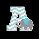 A Alfabeto Festa Elefantinho Chevron Azul e Cinza