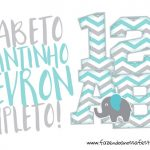 Alfabeto Elefantinho Chevron Azul e Cinza Grátis para Baixar