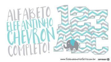 Alfabeto Elefantinho Chevron Grátis para Imprimir 1