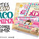 Convite Ingresso Circo Menina Grátis para Personalizar e Imprimir
