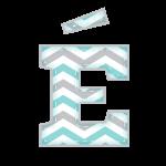 E-Agudo Alfabeto Festa Elefantinho Chevron Azul e Cinza