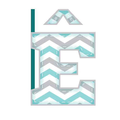 E-circunflexo Alfabeto Festa Elefantinho Chevron Azul e Cinza