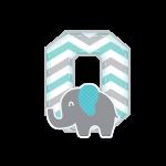 O Alfabeto Festa Elefantinho Chevron Azul e Cinza