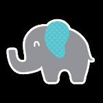 Simbolo Alfabeto Festa Elefantinho Chevron Azul e Cinza