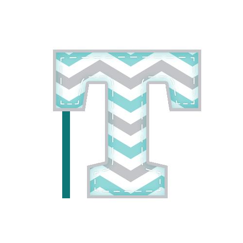 T Alfabeto Elefantinho Chevron Azul e Cinza