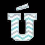 U-Agudo Alfabeto Elefantinho Chevron Azul e Cinza