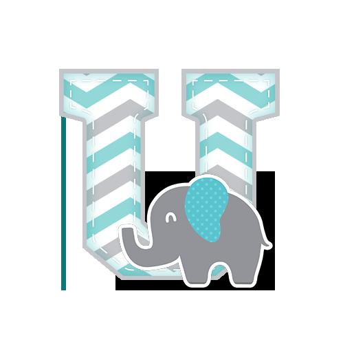 U Alfabeto Elefantinho Chevron Azul e Cinza