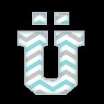 U-Trema Alfabeto Elefantinho Chevron Azul e Cinza