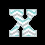 X Alfabeto Elefantinho Chevron Azul e Cinza