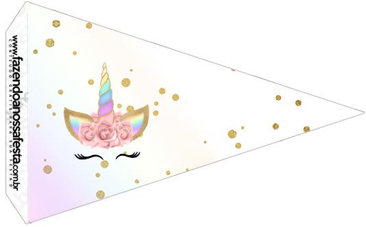 Bandeirinha Sanduiche 3 Unicornio Colorido